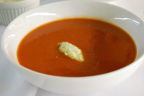 Chilled Heirloom Tomato Soup with Bay Scallop and Herb Swirl ...